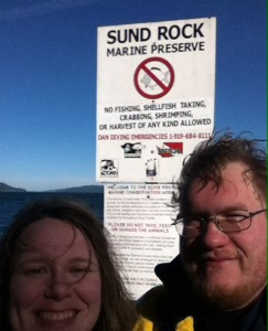 Me and Matt looking scruffy post-dive at Sund Rock.